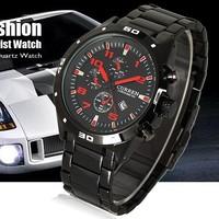 Master Date Red Black Dial Stainless Steel Luxury Sport Quartz Mens Wrist Watch