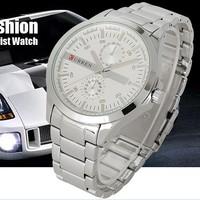 Decent Luxury Silver Stainless Steel Analog Quartz Clock Mens Man's Wrist Watch