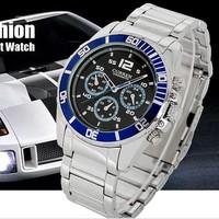 Mans Steel Quartz Analog Vogue Blue Bezel Racer Style Sport Stylish Wrist Watch