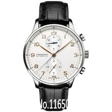 luxo superior português clássico relógio cronógrafo de quartzo homens marca hora couro famoso vestido de alça mostrador prateado relógio esporte casual(China (Mainland))