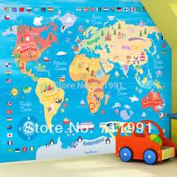 Free shipping custom mural wallpaper bedroom TV background wallpaper world map