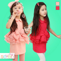 5pcs/lot wholesale kid cake bowknot dress peter pan collar sleeveless summer clothes, fashion princess gril dress
