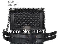 High quality Women handbag lambskin leather luxury brand bags lady shoulder bags le boy vintage black 6708611