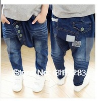 The new spring 2014 children's jeans fashion leisure boy labeling big PP pants