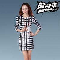 Spring women's brief slim one-piece dress long-sleeve plaid color block slim hip