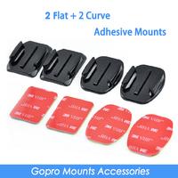 2pcs Flat Adhesive Mount + 2pcs Curved Adhesive Mount For GoPro HD Hero2 Hero3 Hero3+ gopro accessories