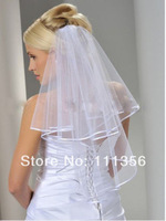New 2T Ivory Wedding Accessories Bridal Veil Elbow Length Satin Edge with comb