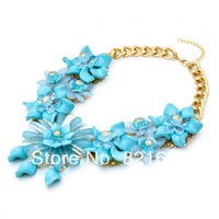 2014 New Fashion Blue Resin Big Flower Chunky Drop Necklace Link Luxury Jewelry For Elegant Women Gift Or Dress MC49
