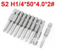 10Pcs 50mm Length Magnetic PH2 Crosshead 4mm Diameter Screwdriver Bits