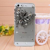 New Rhinestone Ryukyu light butterfly Case Cover for iPhone 4 4s case for iPhone 5 5s case Mobile Border Protection Phone bag