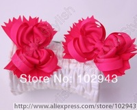 Free shipping 10pcs/lot Stacked Boutique Hair Bow, Baby Girl Bow Hair Clips,Large bow clips in Hot Pink for baby gifts