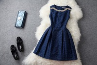 Size 4-12 Women Graceful Dark Blue Rhinestone Beading Sleeveless Pleated Tank Cocktail Dress  Free Shipping sammy009