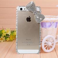 Cute diamond Rhinestone Bow Case Cover for iPhone 4 4s case for iPhone 5 5s case Mobile Border Protection Phone bag