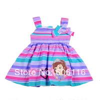 Wholesale 2014 New Kids Summer children girl's Sofia design one-piece dress, baby girls princess dresses, 4pcs/lot-WYX-S7490