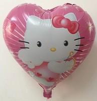 High Quality Peach Heart Hello Kitty Foil Balloons Brithday Party Decoration Catoon Love Helium Balloon KT Cat Balloon