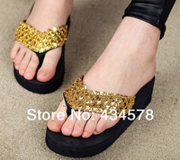 Women summer flip flops,2014 girl fashion style high quality sandals,black/coffee/red/golden/silver color available