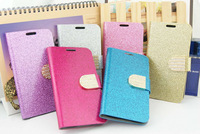 10 x pcs Newest glitter metal buckle leather Wallet credit card protective cover case skin for Samsung galaxy S5 i9600