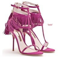 2014 New Summer Sandals Red Suede Sandal with Tassel Women Fashion Pumps High Heels Plus Size