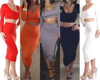 2014 Summer New 2PCS VTG Sexy Cropped Top+High Waist Pencil Midi Dress Bodycon Slim Set Disco Dance Wear