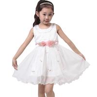 Children's clothing  child 2014 summer performance girl   princess  dress sleeveless lace tulle dress