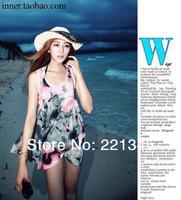 2014!! large print dress sunscreen beach dress one-piece dress