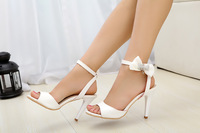 Peep toe high heel sandals 2014 new fashion sandals for girls bow crystal sandals sexy sweet shoes evening dress shoes.