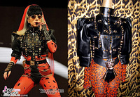 2014 Spring and Summer Sexyqueen Puff Sleeve Cross Leather Clothing Two Pieces Set Lady Gaga Costume