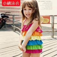 2014 new rainbow swimwear child one-piece ruffle skirt style swimsuit swimwear triangle for girls