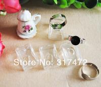 20sets/lot 17X24MM Rectangle Liquid Rings,glass bubble Liquid rings,Glass Globe Bubble Vial rings,glass bottle rings