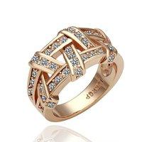 18KGP R061 Rose Glod Weave 18K Gold Plated Ring Health Jewelry Golden Plating Platinum Austrian Crystal