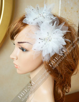 Free Shipping 2 pcs/lot Bridal white petals flower hairpin hair accessory  wedding dress hair accessory combination