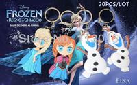 20PCS /LOT 3D Cartoon Movie Frozen keychain Elsa Anna Olaf keychains dolls free shipping