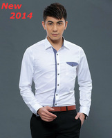 New  2014  men  Business Casual  slim fit shirt  Solid cotton brand  long sleeve   polo shirts 9008  XS S M L XL XXL XXXL