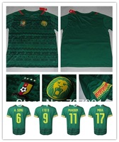 2014/15 WC High Thailand Quality Cameroon Home Green A.Song 6 Player Version  Football Jerseys Uniforms Shirts Rubber Logo
