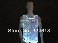 Novelty LED Luminous Man's Vest Fancy Led Flashing men's Tank tops KTV Bar Night Club Dancing Costume