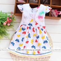 1 piece retail 2014 summer butterfly dresses for baby girls printed dress princess children clothing PANYA ST14
