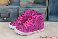 Ruum female child paillette leopard print lacing skateboard shoes