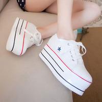 2014 autumn high-top casual shoes platform canvas shoes woman's  sneakers size 35-39