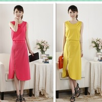 Free shipping 2014 spring and summer slim sleeveless zipper one-piece dress knitted elastic 100% cotton full dress female