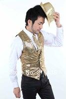 2014 men's male paillette vest dance costume men's clothing gold vest
