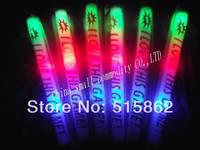 Freeshipping 100pcs/lot cancustomize logo led foam stick led foam baton multi color 3 modes customized logo glow stick for party