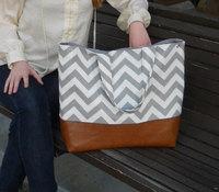 Chevron diaper bag, gray chevron bags and genuine leather market tote bag in gray chevron and leather bottom