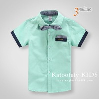 New arrival 2014 Kids Boys Summer Brand Oxford Shirts Children Shirts 2-10 years old boys