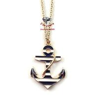 XL35  Jewelry wholesale brand texture anchor pendant necklace 4pcs/lot