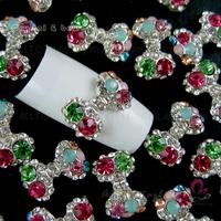 50pcs Big size colour Bow Crystal Rhinestone Alloy Nail Art Glitters DIY Decoration