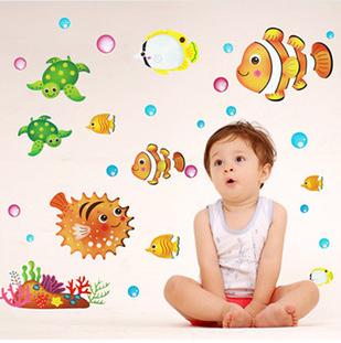 Free Shipping 1pct Hot 50*70cm Bubble Clownish Third Generation Removable Decorative Wall Stickers Bathroom Pvc(China (Mainland))