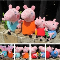 Free Shipping,4pcs Retail(1Mom+1Dad+1Peppa+1George), Peppa Pig Stuffed Dolls,Cute Soft And Interactive's Kid's Toy(IN STOCK)