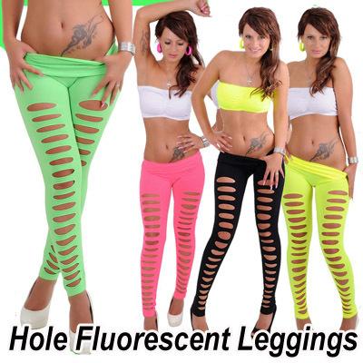 высокое качество конфеты цвет сексуальное отверстие флуоресцентные женщин леггинсы единообразных крекинг