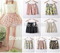 7 Print Floral Skirt Brand Skater Patterns Casual Pleated Ruffle Dot Summer Mini Chiffon Short Skirt Women 2014 Fashion Vestidos