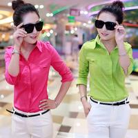 Women's shirt long-sleeve 2014 spring casual top slim female shirt